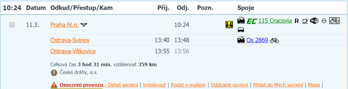 vlak do Vítkovic